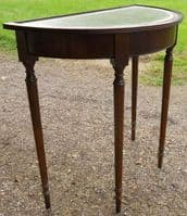 Small Leather Top Bowfront Console Table
